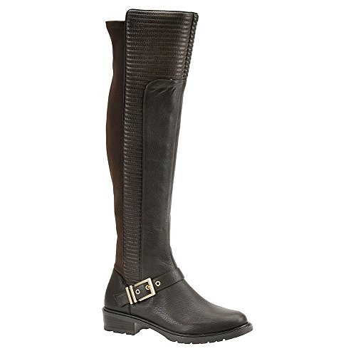 BCBG-SIGMOND-TALL-OVER-THE-KNEE-OAK-LEATHER-STRETCH-ELASTIC-BACK-MOTO-BOOTS thumbnail 6