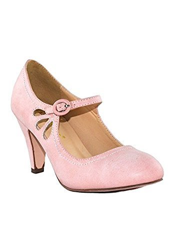 CHASE-AND-CHLOE-KIMMY-RETRO-VEGAN-LOW-HEEL-ROUND-TOE-MARY-JANE-PUMPS thumbnail 15