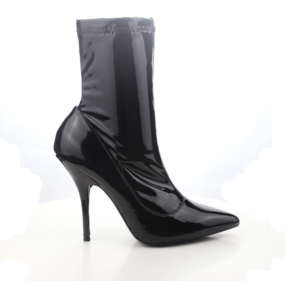 CAPE ROBBIN GLOSSY BLACK PATENT POINTED TOE STILETTO STRETCH Stiefel FITTED ANKLE Stiefel STRETCH 33b192