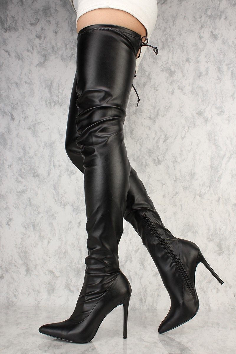 Pointy And Posh Top 65 Amazing Stiletto Nails: Liliana Gisele-50 BLACK Leather Stretchy Thigh High Pointy