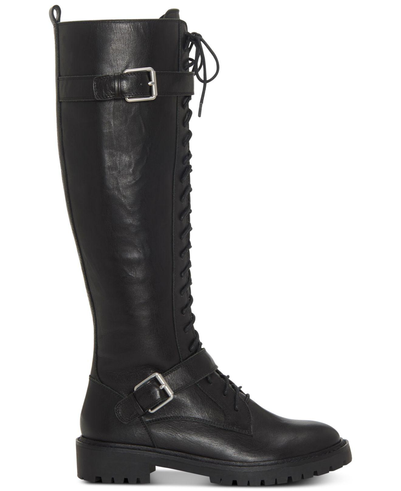 Lucky Brand Inniko Black Leather Knee High Combat Lace Up