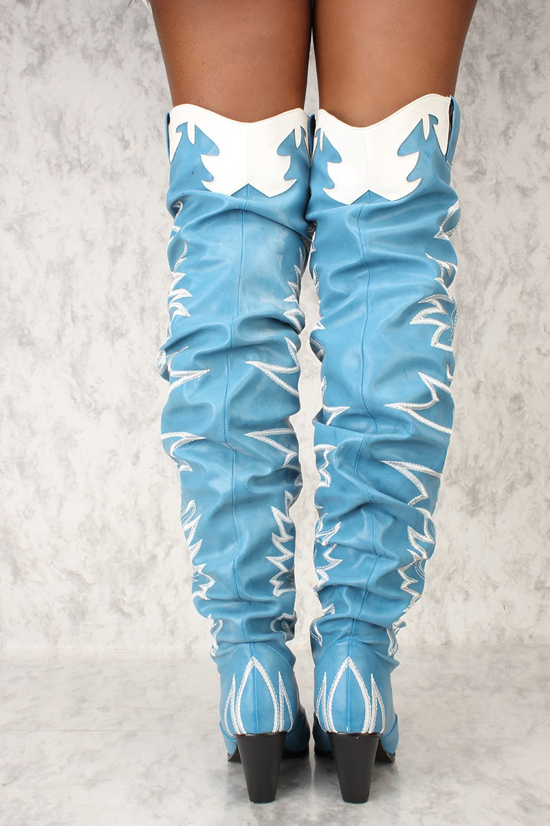 Cape-Robbin-Kelsey-21-BLUE-COWBOY-FASHION-WESTERN-POINTED-OVER-KNEE-THIGH-BOOT thumbnail 16