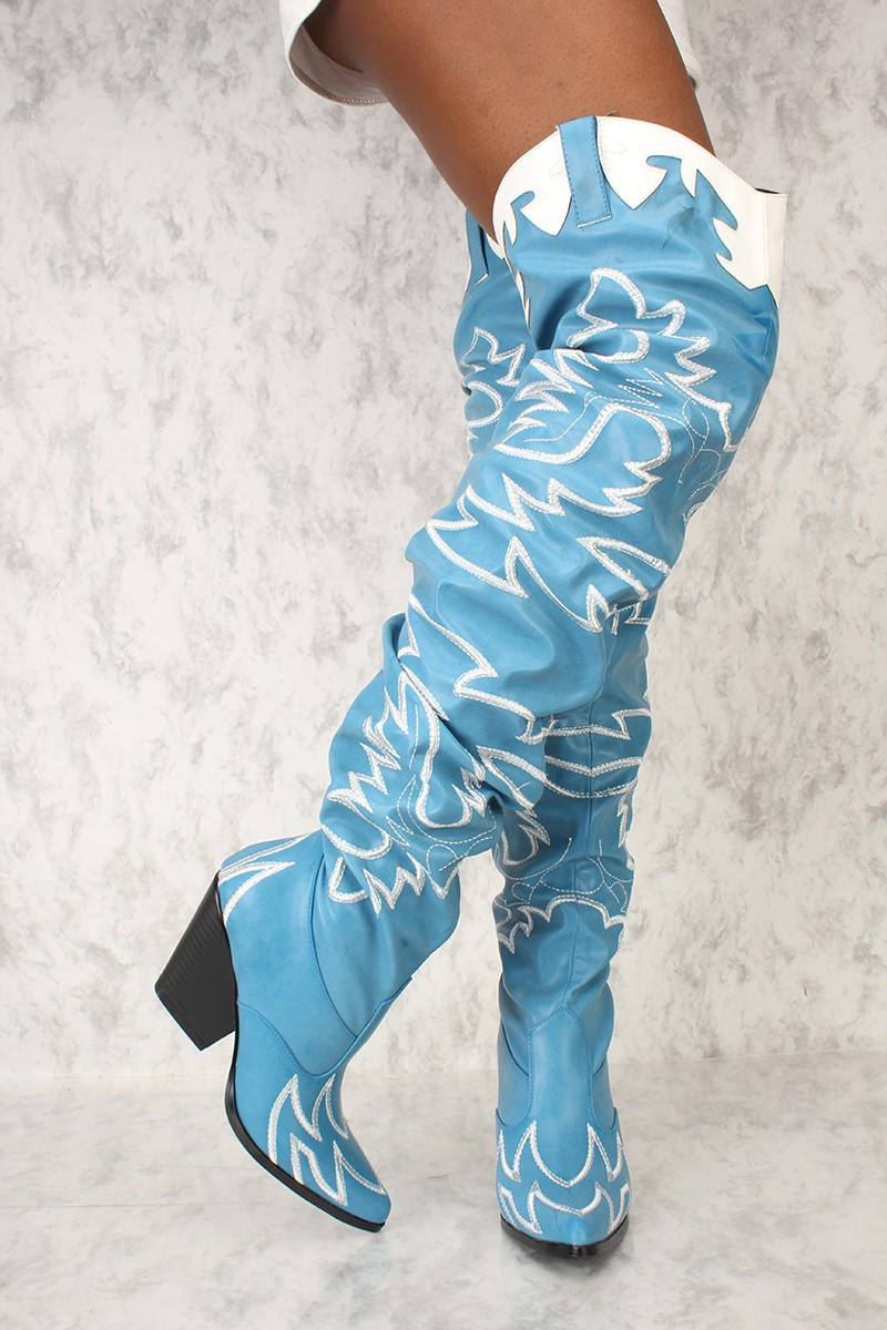 7cfa64d855a Cape Robbin Kelsey-21 BLUE STITCH ROCK STAR WESTERN POINTED OVER ...