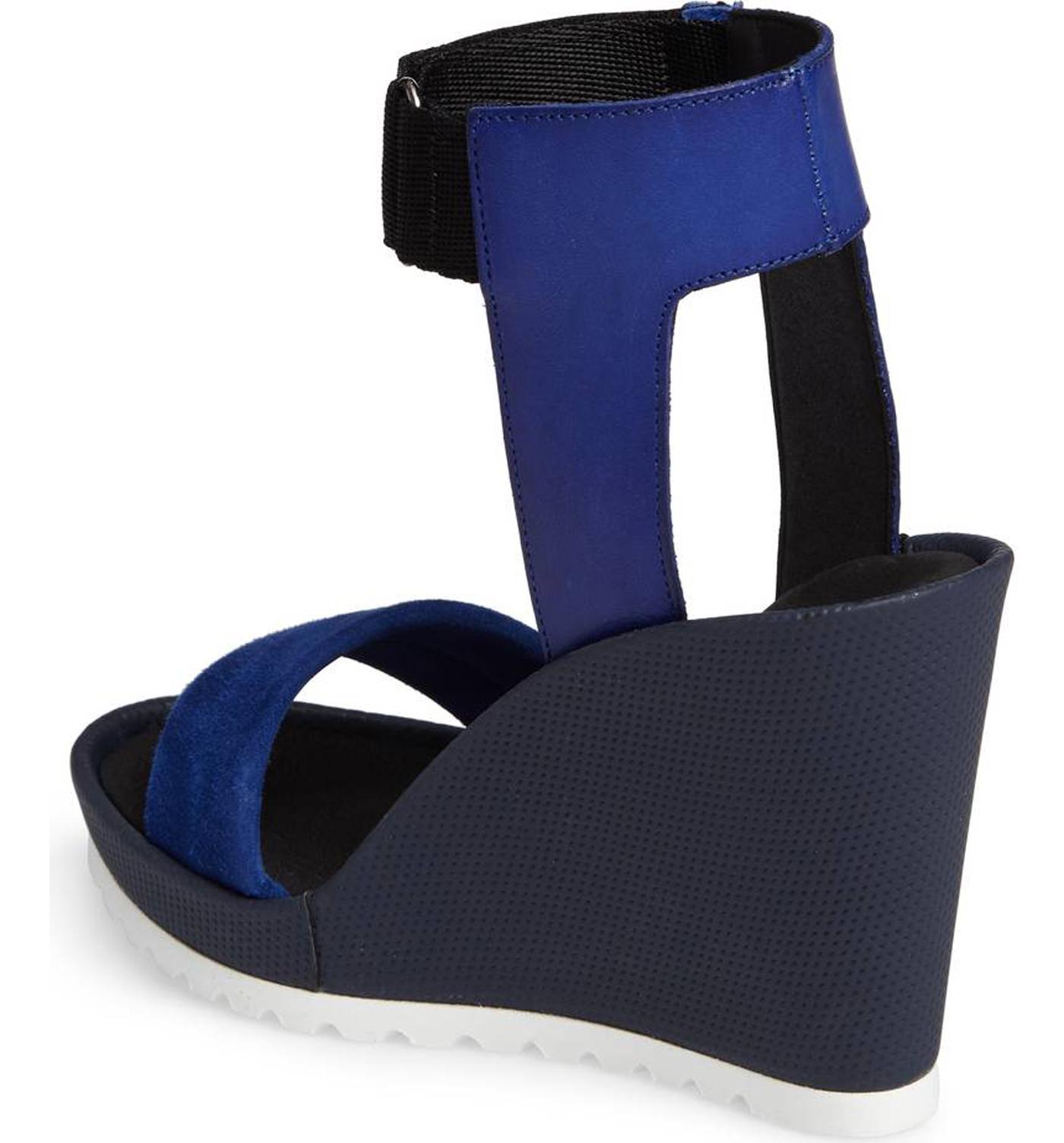 e408574fea7 Shellys London Kayleigh Blue Multi Suede Ankle Strap Platform Retro ...