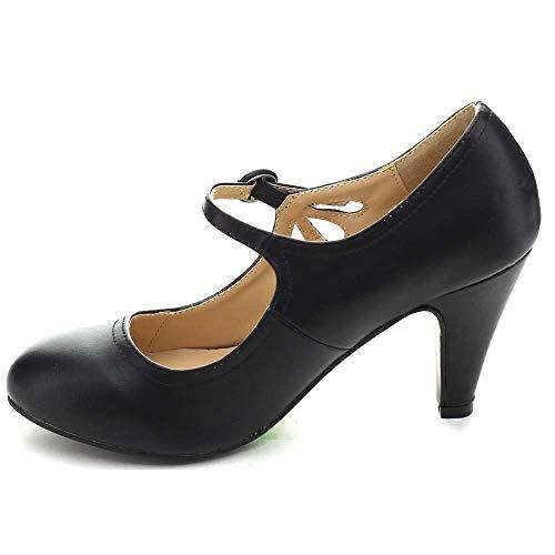 Chase-amp-Chloe-KIMMY-21-Black-Round-Toe-Pierced-Mid-Heel-Mary-Jane-Dress-Pumps thumbnail 5