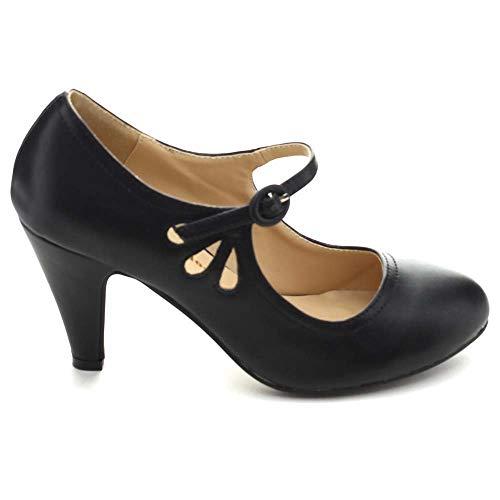 Chase-amp-Chloe-KIMMY-21-Black-Round-Toe-Pierced-Mid-Heel-Mary-Jane-Dress-Pumps thumbnail 21