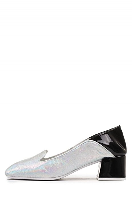Jeffrey-Campbell-Gulana-Metallic-Slip-On-Blocked-Heel-Pumps-MULES-COLOR-SIZE thumbnail 4