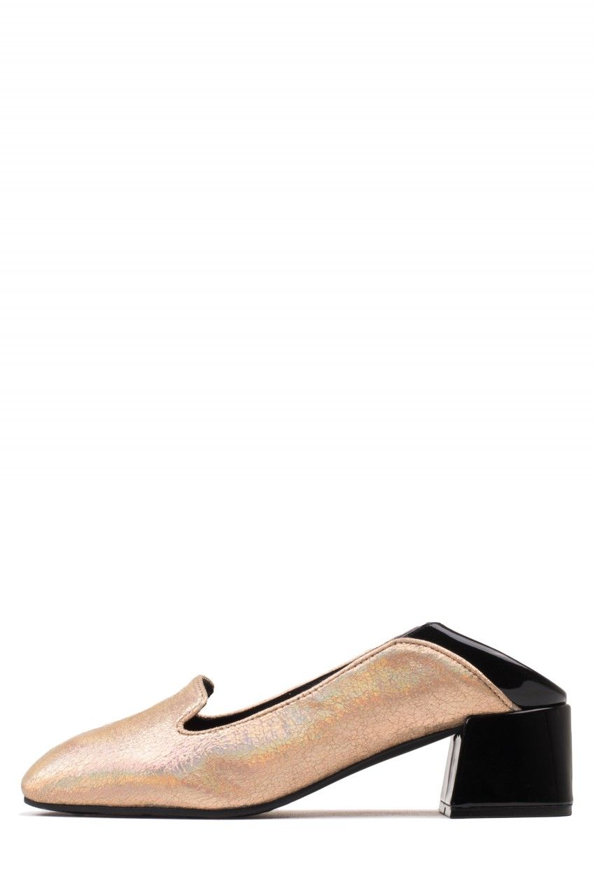 Jeffrey-Campbell-Gulana-Metallic-Slip-On-Blocked-Heel-Pumps-MULES-COLOR-SIZE thumbnail 8
