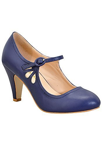 CHASE-AND-CHLOE-KIMMY-RETRO-VEGAN-LOW-HEEL-ROUND-TOE-MARY-JANE-PUMPS thumbnail 20