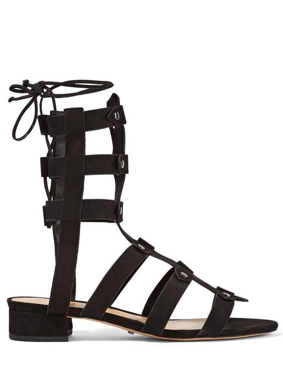 48e52801026 Schutz Rae Black Nubuck Studded Fitted Ankle Flat Tie Back Gladiator ...