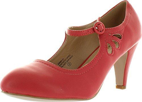 CHASE-AND-CHLOE-KIMMY-RETRO-VEGAN-LOW-HEEL-ROUND-TOE-MARY-JANE-PUMPS thumbnail 6