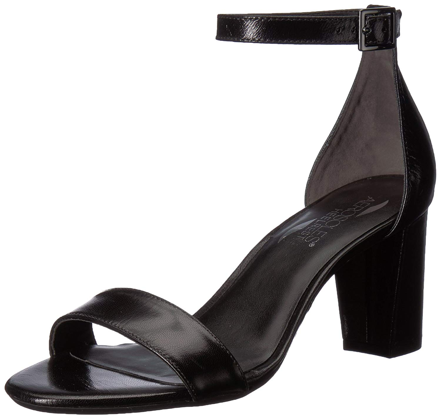c8e84620f520d Details about Aerosoles Bird of Paradise Black Leather Two Piece Wrapped  Heel Ankle Buckle