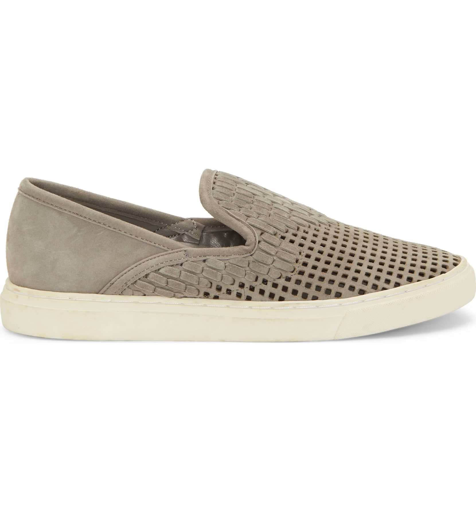 Vince-Camuto-Bristie-Storm-Grey-Leather-Woven-White-Sole-Slip-On-Sneakers thumbnail 7
