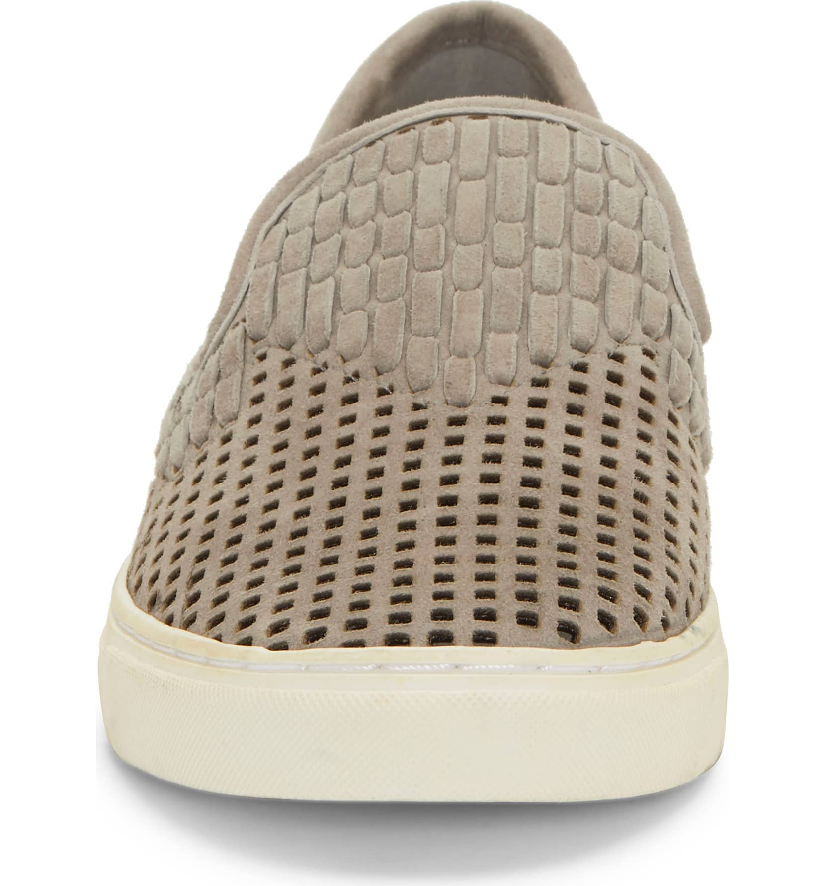 Vince-Camuto-Bristie-Storm-Grey-Leather-Woven-White-Sole-Slip-On-Sneakers thumbnail 9