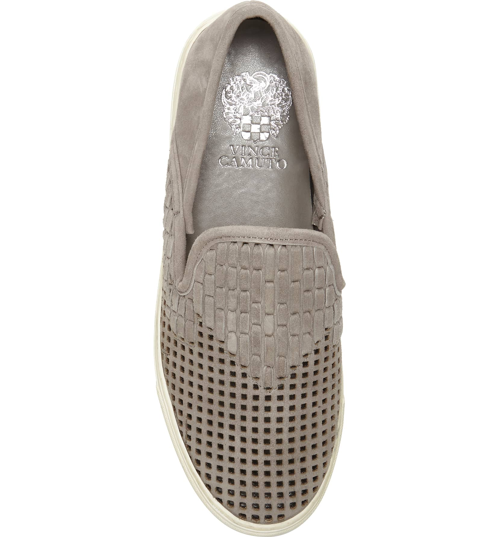 Vince-Camuto-Bristie-Storm-Grey-Leather-Woven-White-Sole-Slip-On-Sneakers thumbnail 10
