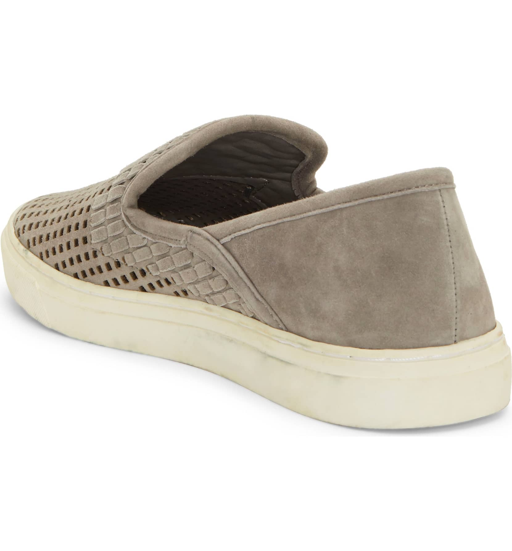 Vince-Camuto-Bristie-Storm-Grey-Leather-Woven-White-Sole-Slip-On-Sneakers thumbnail 8