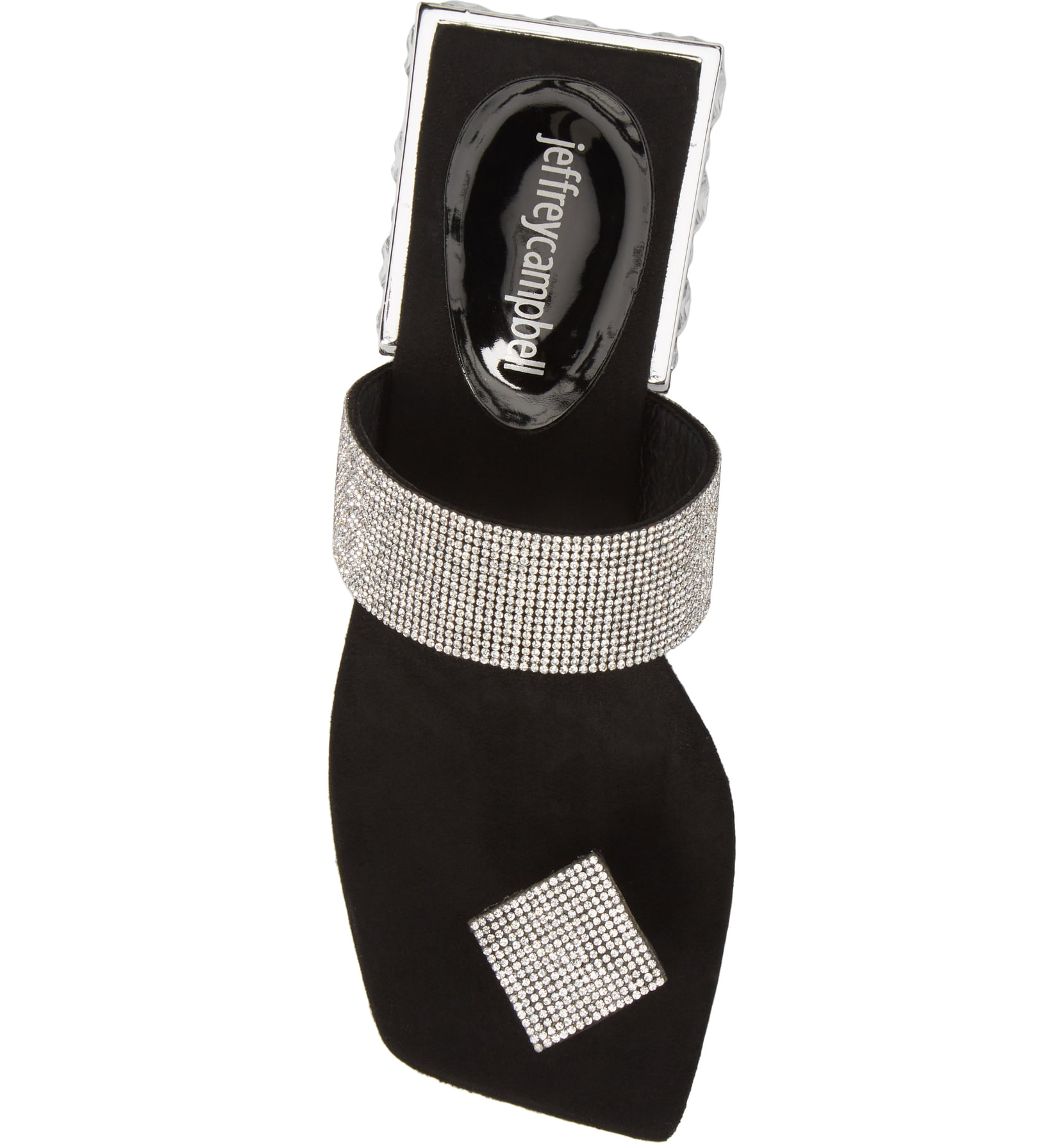 Jeffery-Campbell-ALISE-SH-Black-Silver-Embellished-Sandal-Jeweled-Square-Heel thumbnail 14