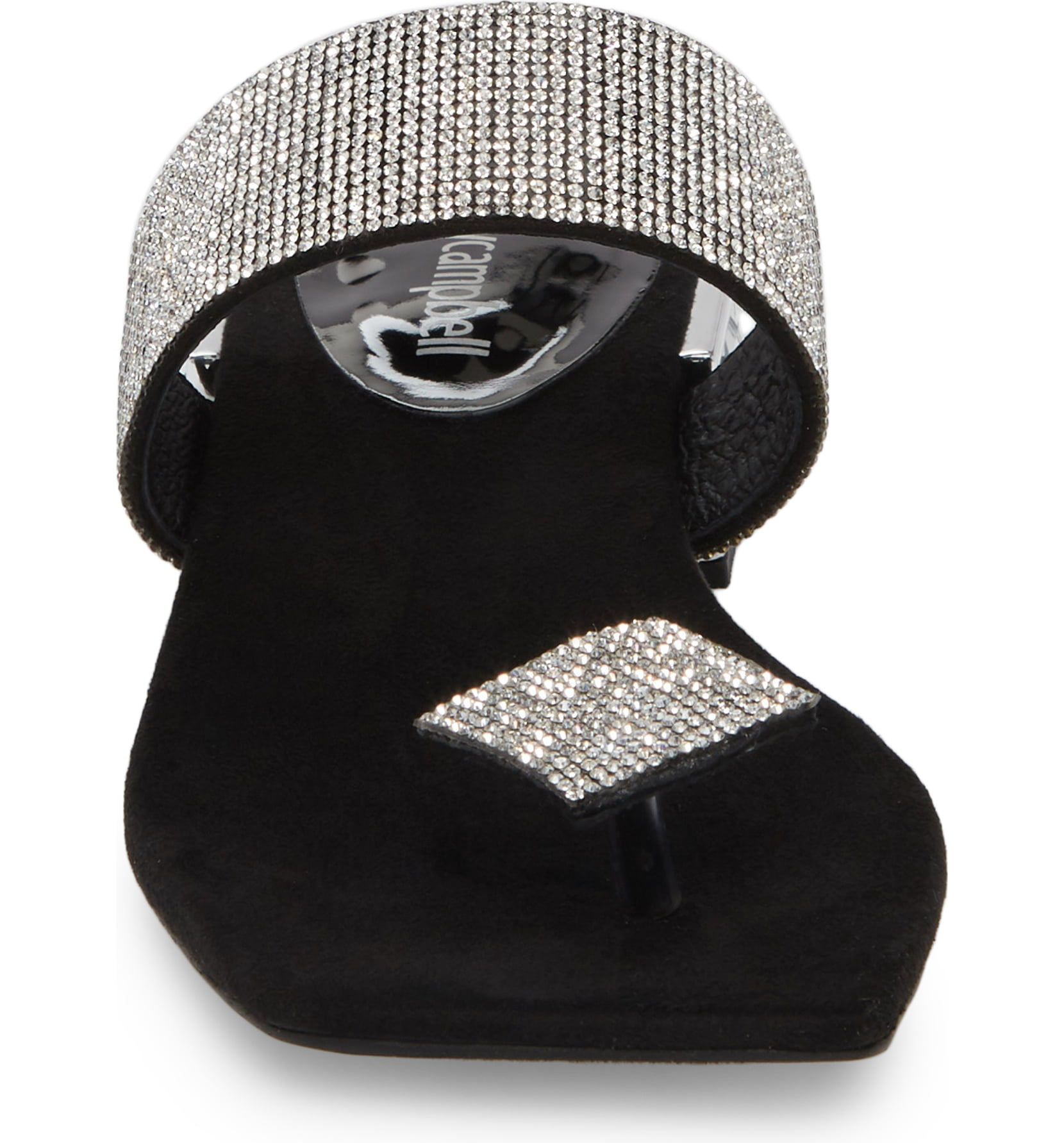 Jeffery-Campbell-ALISE-SH-Black-Silver-Embellished-Sandal-Jeweled-Square-Heel thumbnail 19