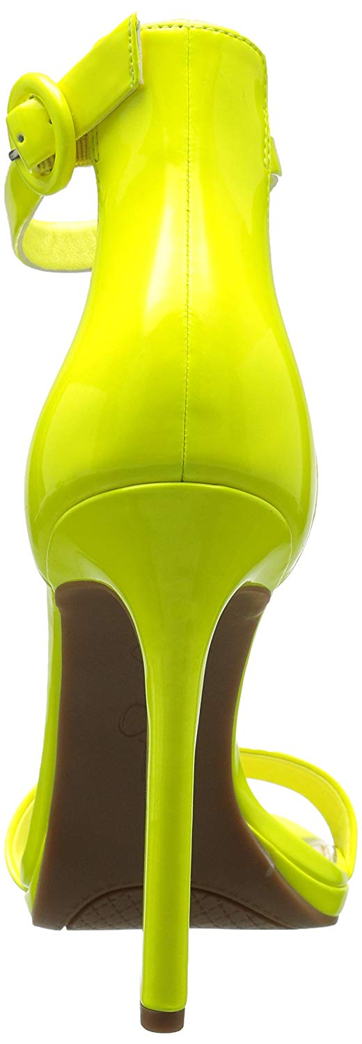 e5c2be06f76 Details about Jessica Simpson PLEMY Heeled Sandal Yellow Shock Patent  Leather Open Toe Pumps