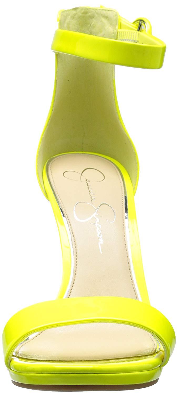 Jessica-Simpson-PLEMY-Heeled-Sandal-Yellow-Shock-Patent-Leather-Open-Toe-Pumps thumbnail 9