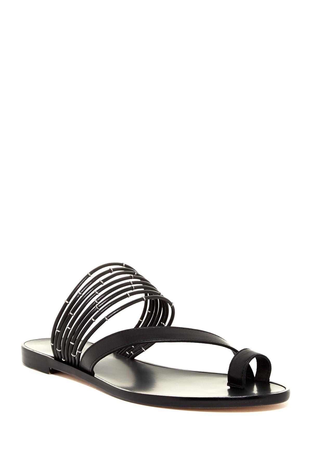 Pour-La-Victoire-Lara-Elastic-Strap-Open-Toe-Vamp-Black-Leather-Sandal-size-5-5