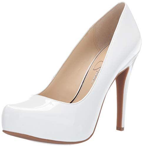 Jessica-Simpson-Parisah-Bright-White-Patent-Leather-Platform-High-Heel-Pumps thumbnail 3