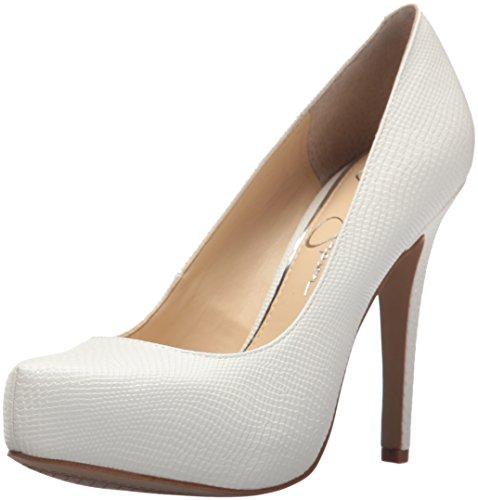 Jessica-Simpson-Parisah-White-Rumba-Snake-Leather-Platform-High-Heel-Pumps thumbnail 7