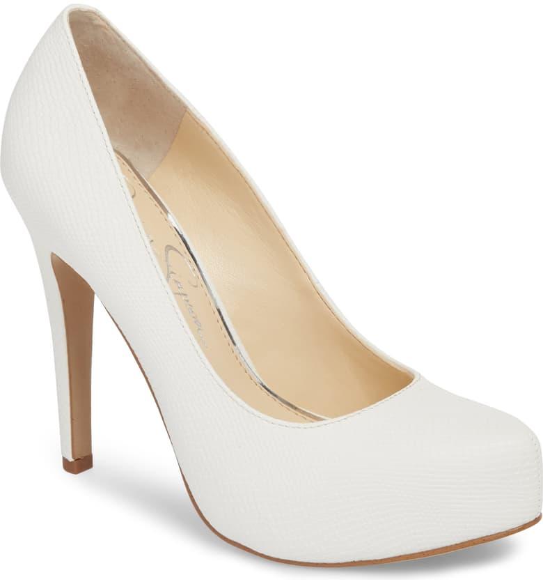 Jessica-Simpson-Parisah-White-Rumba-Snake-Leather-Platform-High-Heel-Pumps thumbnail 8