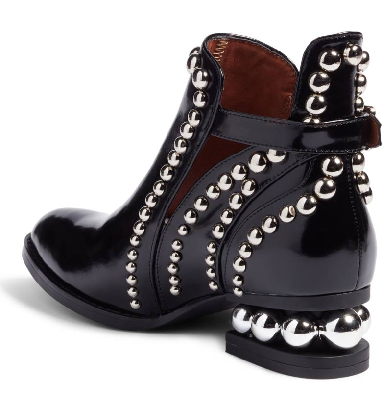 JEFFREY CAMPBELL Rylance Silver Studded Black Box Leather Cut-out ... 871bb4660