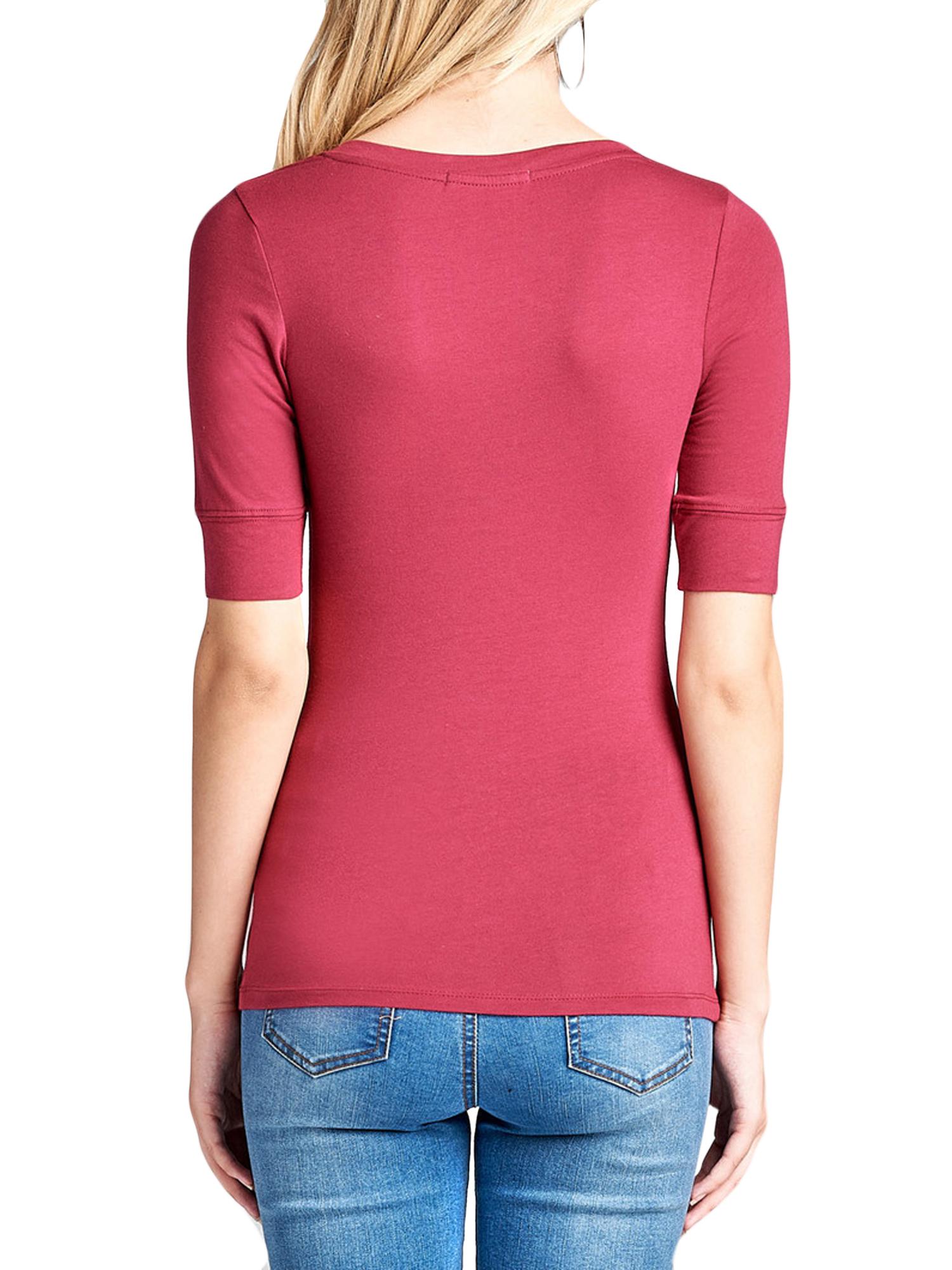 a22006979 Junior   Junior Plus Casual Basic Cotton V Neck Elbow Sleeve T-Shirt ...