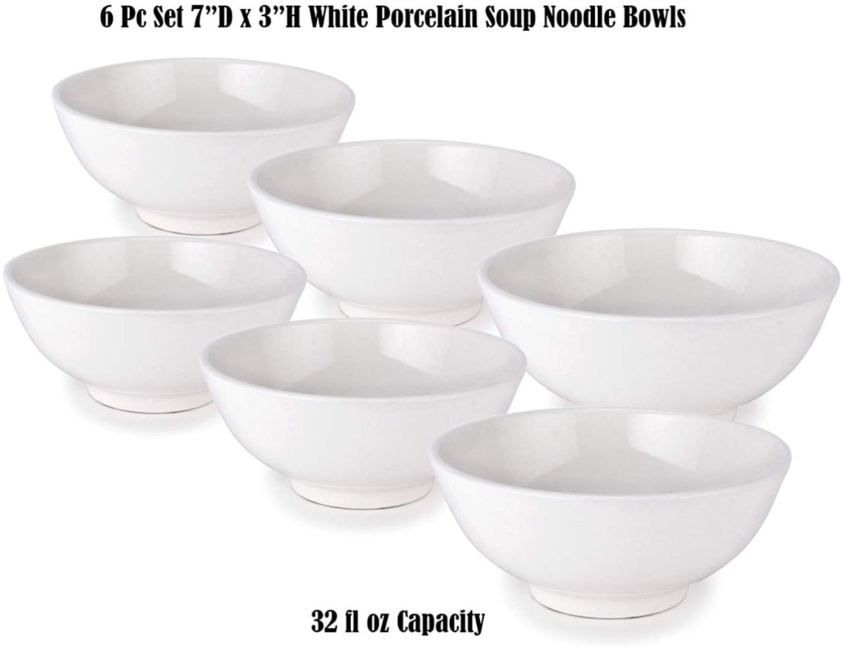 White Porcelain Noodles Soup Bowl Set Of 6 Quality Porcelain Ramen Udong Soba Ebay