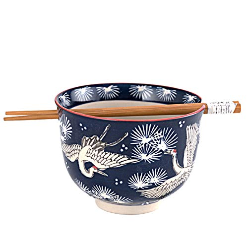 Japanese Ramen Udon Noodle Pho Bowl with Chopsticks Gift Set 5 Inch Weave