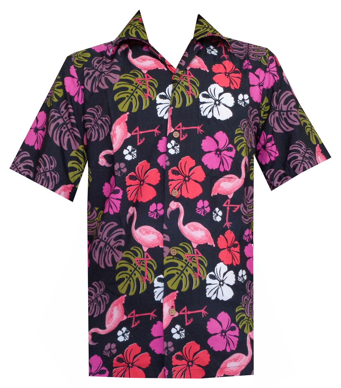 3583dac8b Hawaiian Shirts Mens Flamingo Leaf Print Beach Aloha Party Black L ...