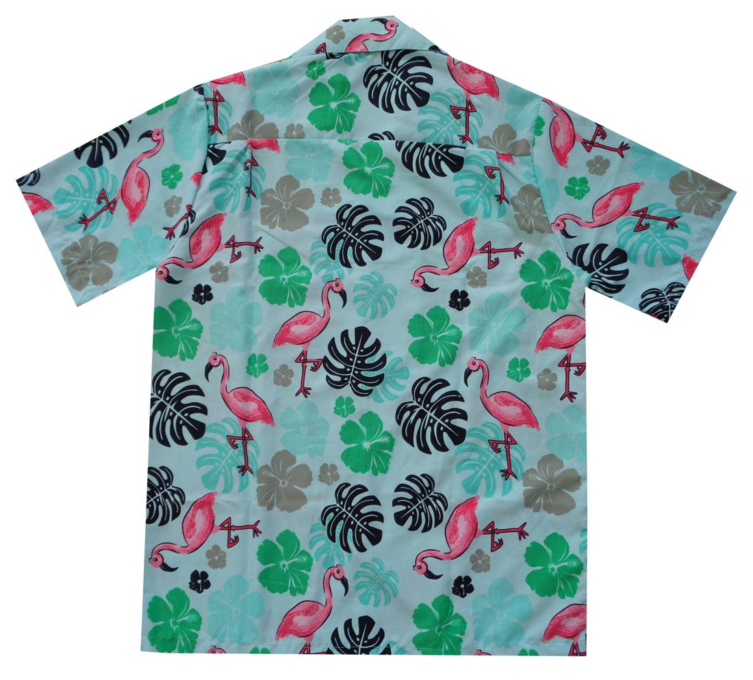 Hawaiian-Shirt-Mens-Flamingo-Leaf-Print-Beach-Aloha-Party-Holiday-Camp thumbnail 7