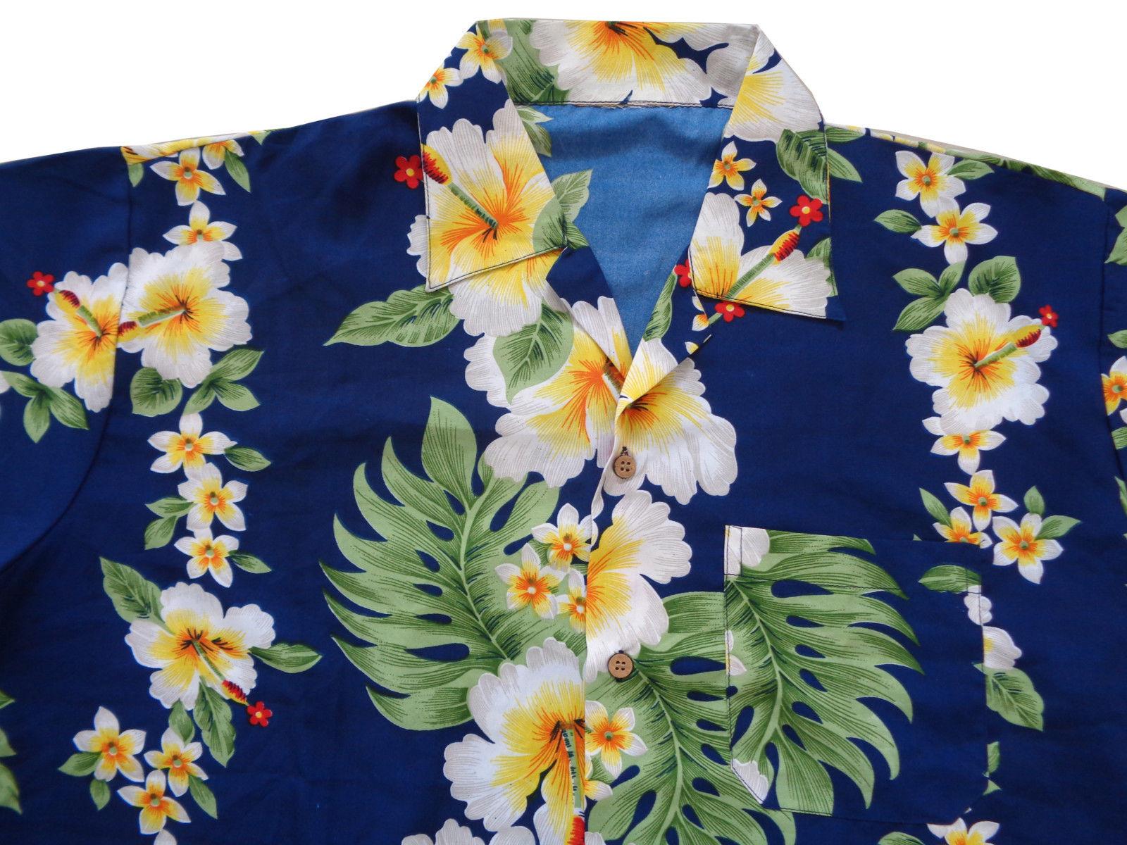Hawaiian-Shirts-Mens-Hibiscus-Flower-Print-Beach-Party-Aloha thumbnail 13
