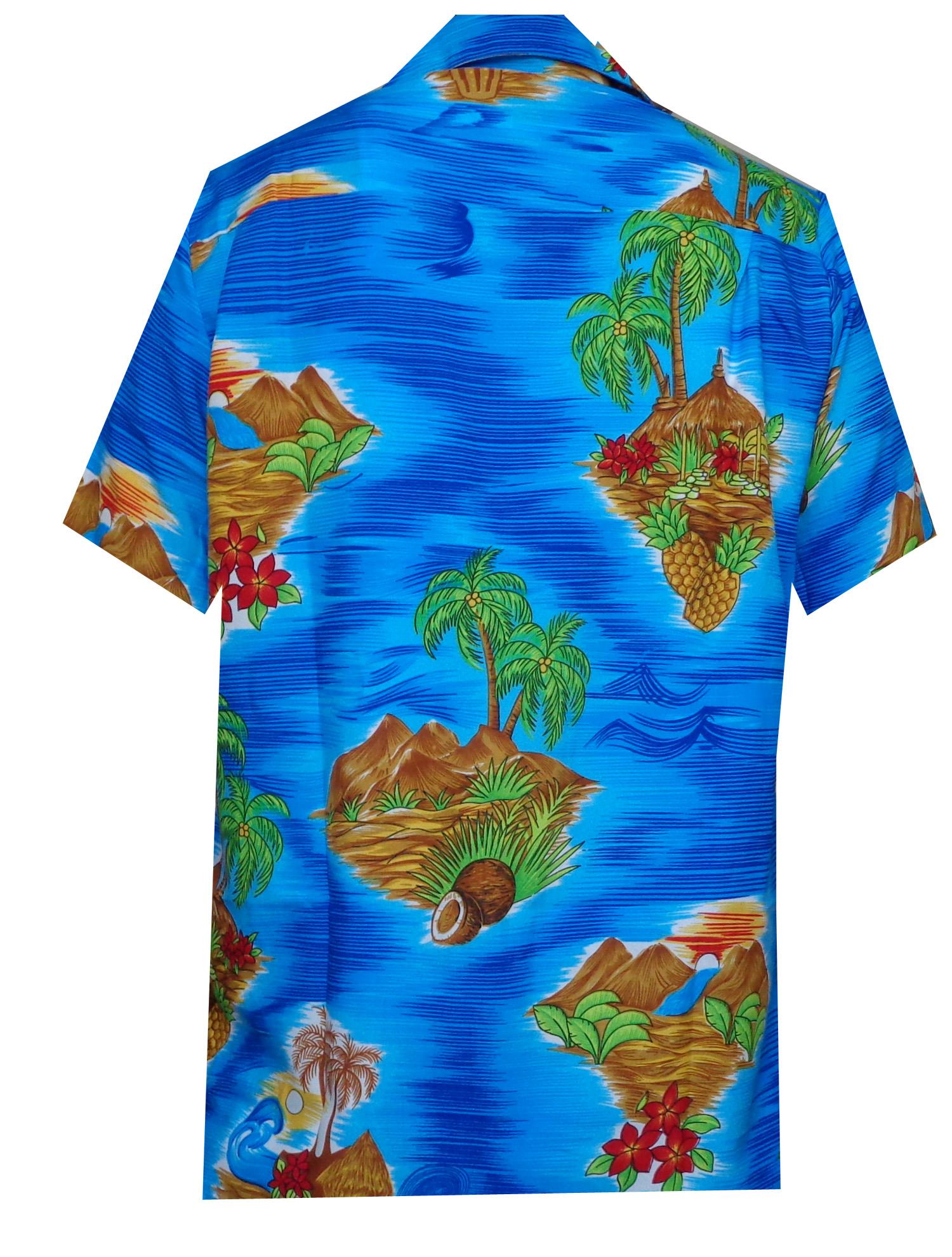 Hawaiian-Shirt-Mens-Scenic-Flower-Print-Beach-Aloha-Party-Holiday-Camp thumbnail 5