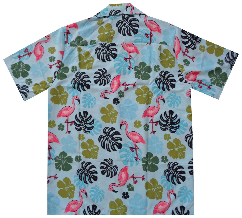 Hawaiian-Shirt-Mens-Flamingo-Leaf-Print-Beach-Aloha-Party-Holiday-Camp thumbnail 15