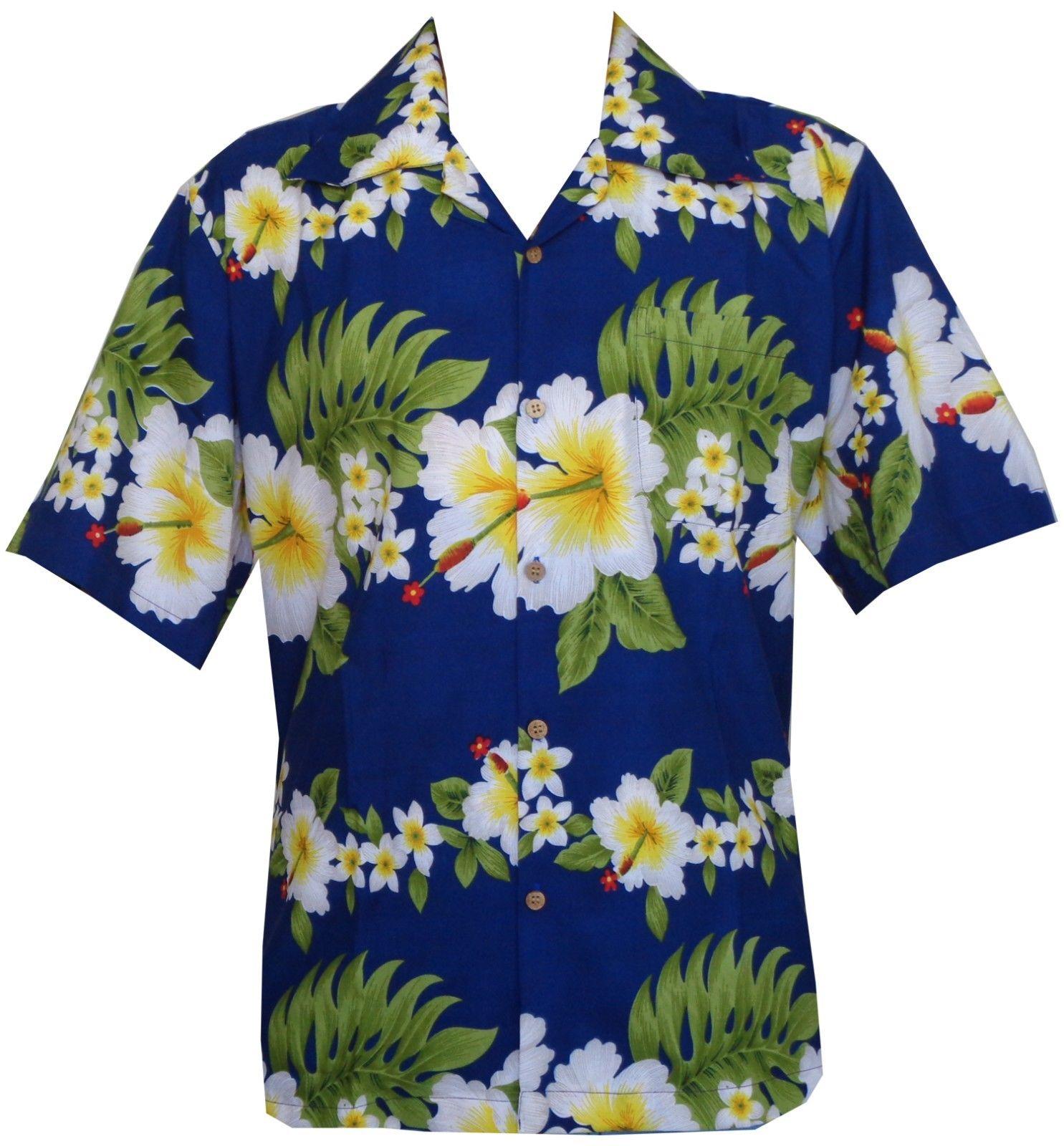 Hawaiian-Shirt-Mens-Hibiscus-Floral-Print-Aloha-Party-Beach-Camp-Holiday thumbnail 9