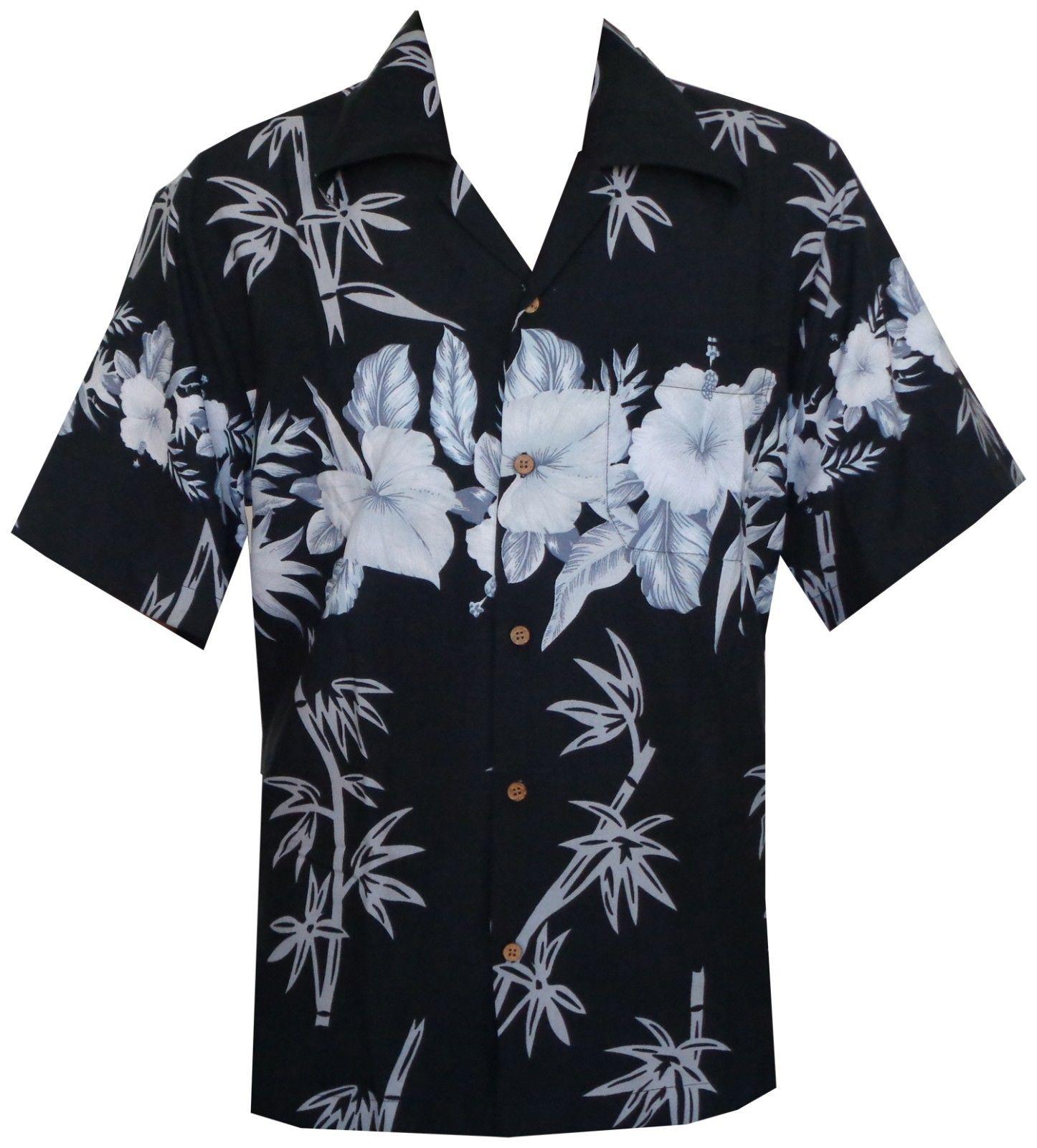 Hawaiian Shirts Mens Bamboo Tree Print Beach Aloha Party ...