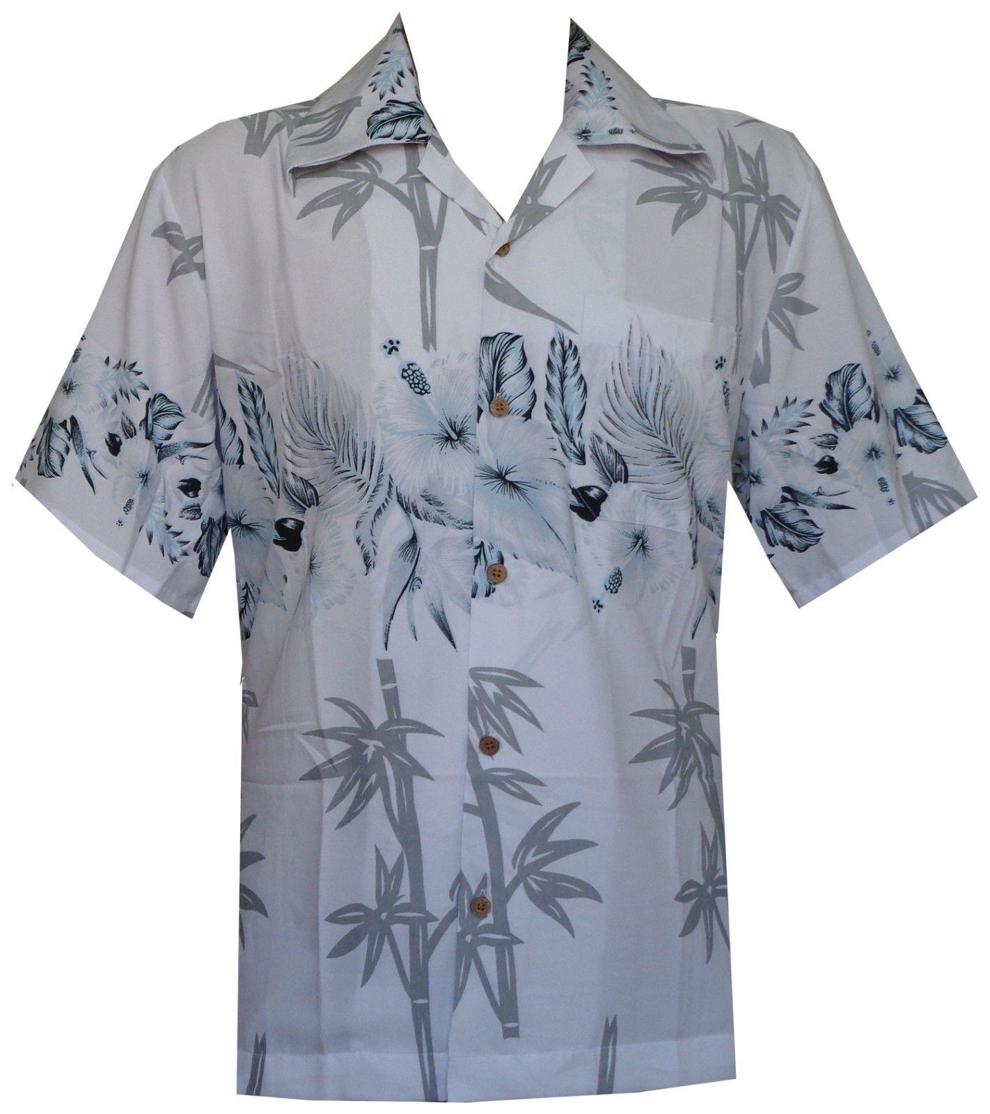 Hawaiian-Shirts-Mens-Bamboo-Tree-Print-Beach-Aloha-Party-Holiday thumbnail 13