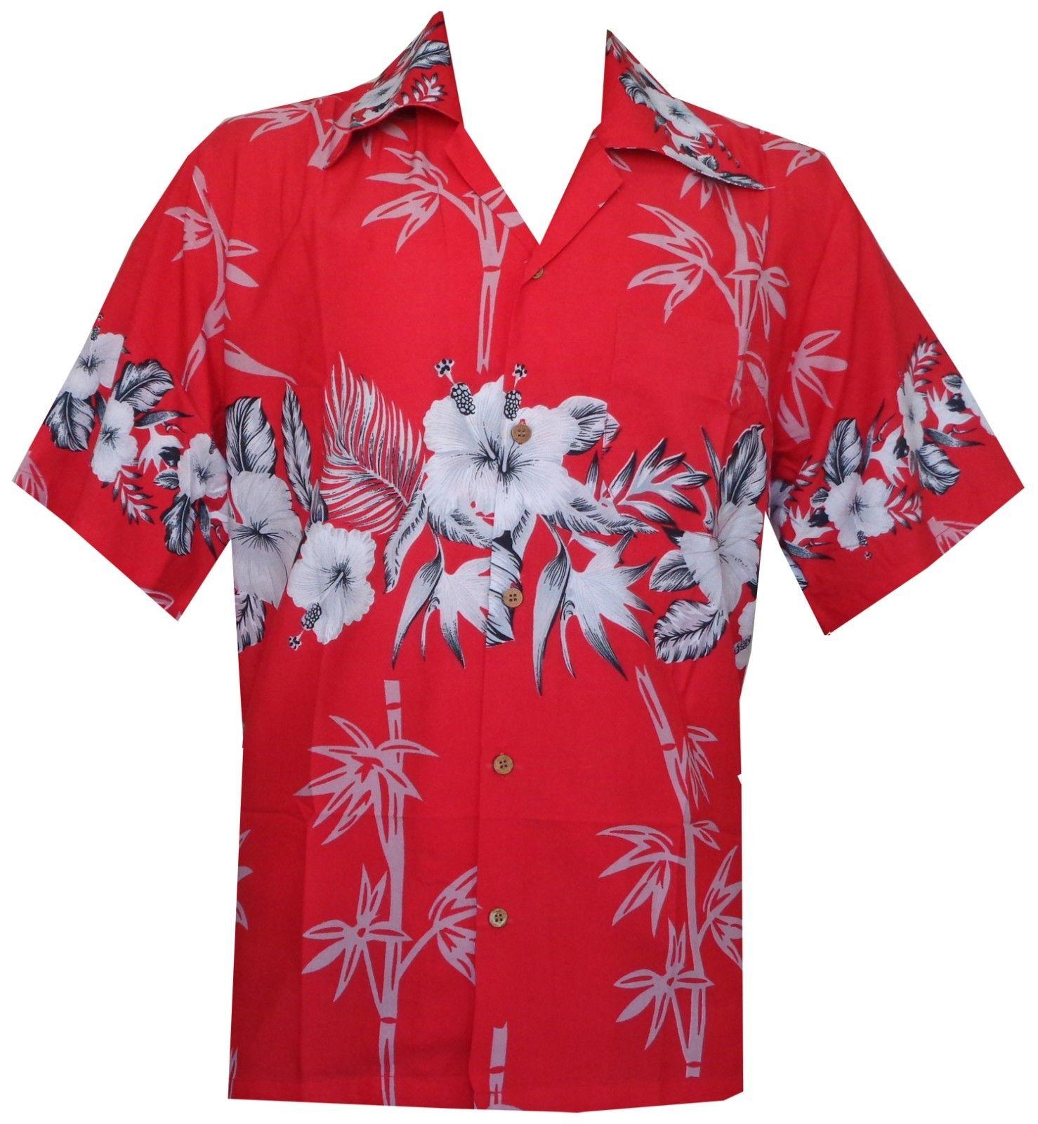 Hawaiian-Shirts-Mens-Bamboo-Tree-Print-Beach-Aloha-Party-Holiday thumbnail 15