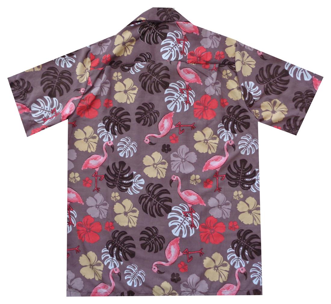 Hawaiian-Shirt-Mens-Flamingo-Leaf-Print-Beach-Aloha-Party-Holiday-Camp thumbnail 4