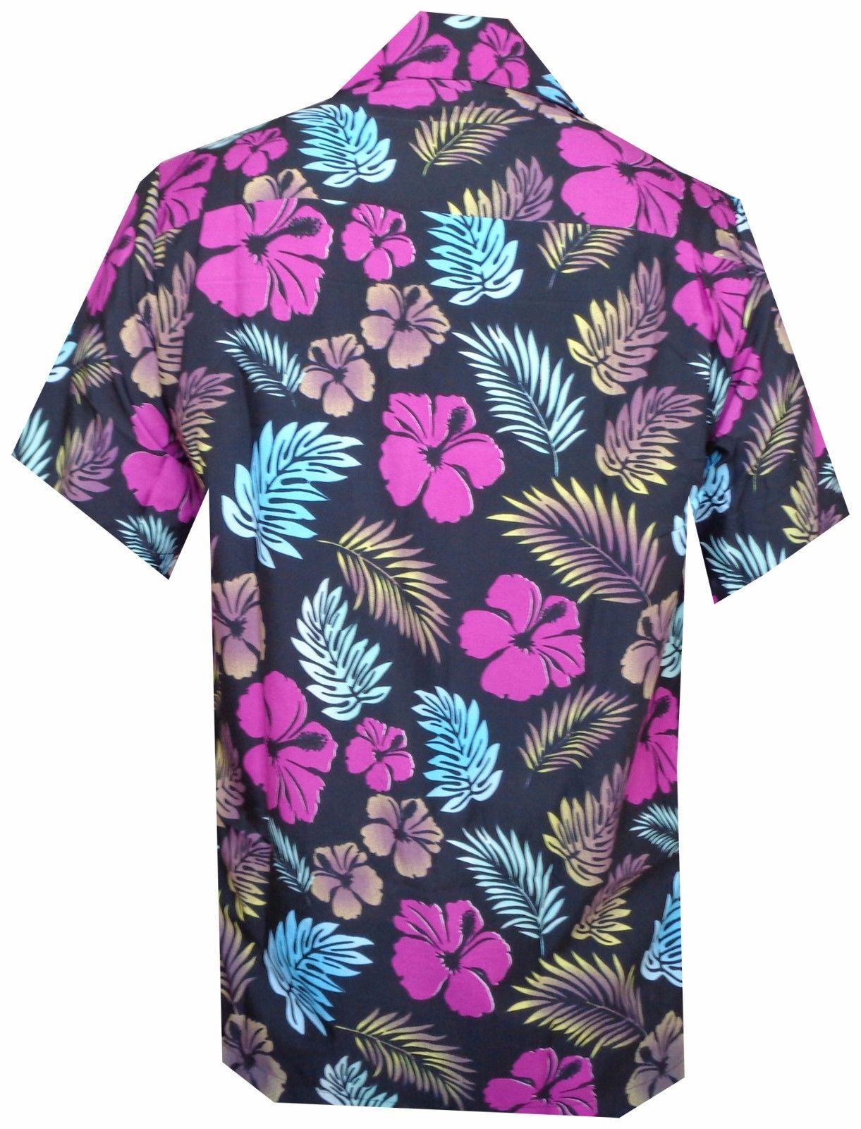 Hawaiian-Shirt-Mens-Hibiscus-Floral-Leaf-Print-Beach-Aloha-Camp-Party thumbnail 11