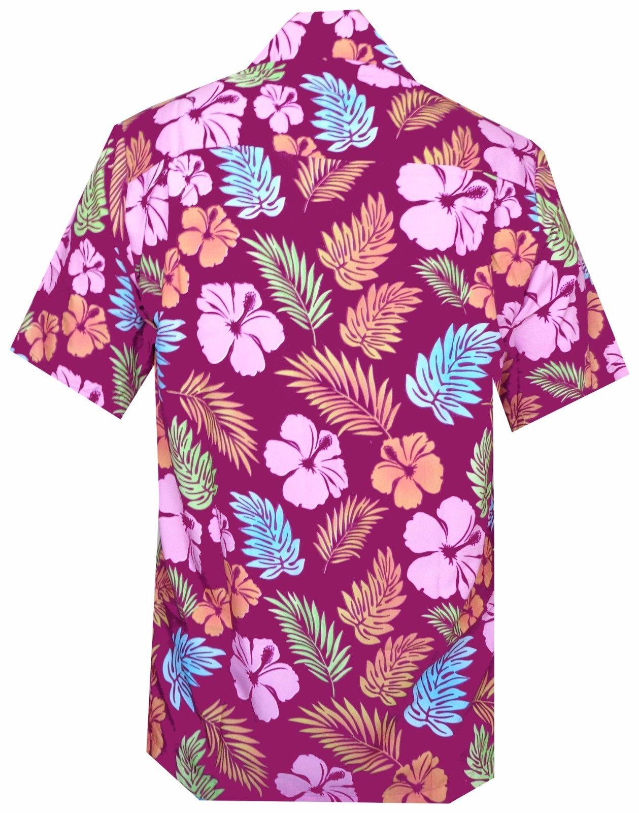 Hawaiian-Shirt-Mens-Hibiscus-Floral-Leaf-Print-Beach-Aloha-Camp-Party thumbnail 8
