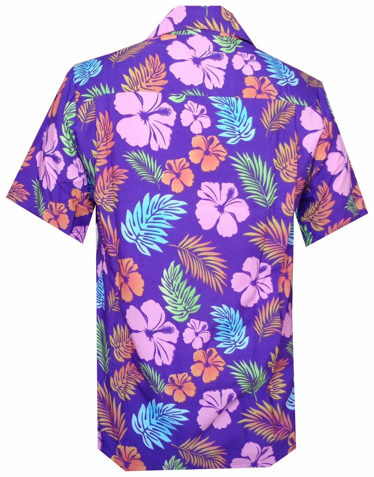 Hawaiian-Shirt-Mens-Hibiscus-Floral-Leaf-Print-Beach-Aloha-Camp-Party thumbnail 14