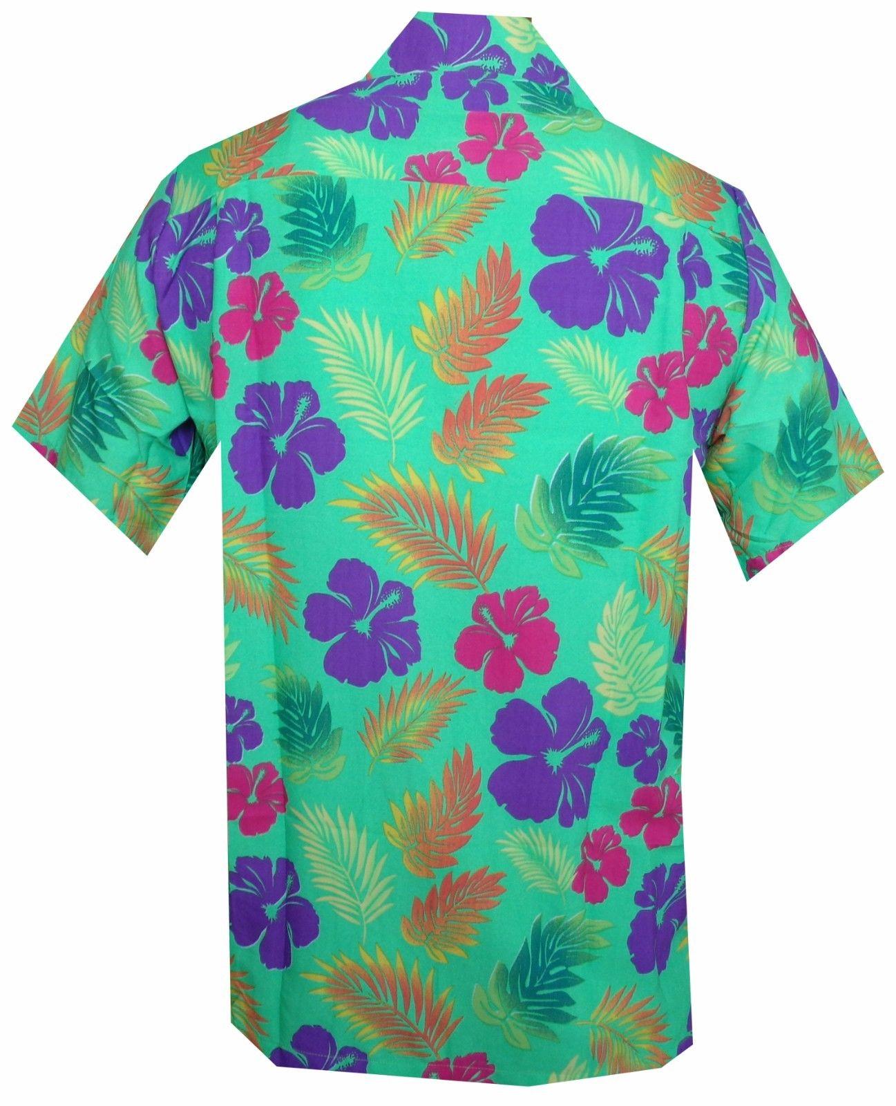 Hawaiian-Shirt-Mens-Hibiscus-Floral-Leaf-Print-Beach-Aloha-Camp-Party thumbnail 5
