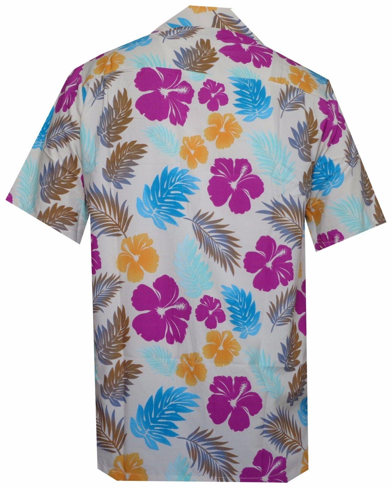 Hawaiian-Shirt-Mens-Hibiscus-Floral-Leaf-Print-Beach-Aloha-Camp-Party thumbnail 20