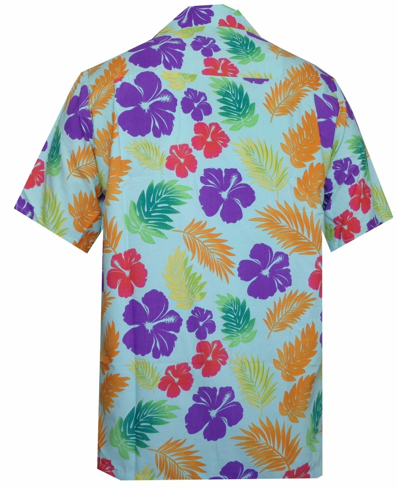 Hawaiian Shirt Mens Hibiscus Floral Leaf Print Beach Aloha ...