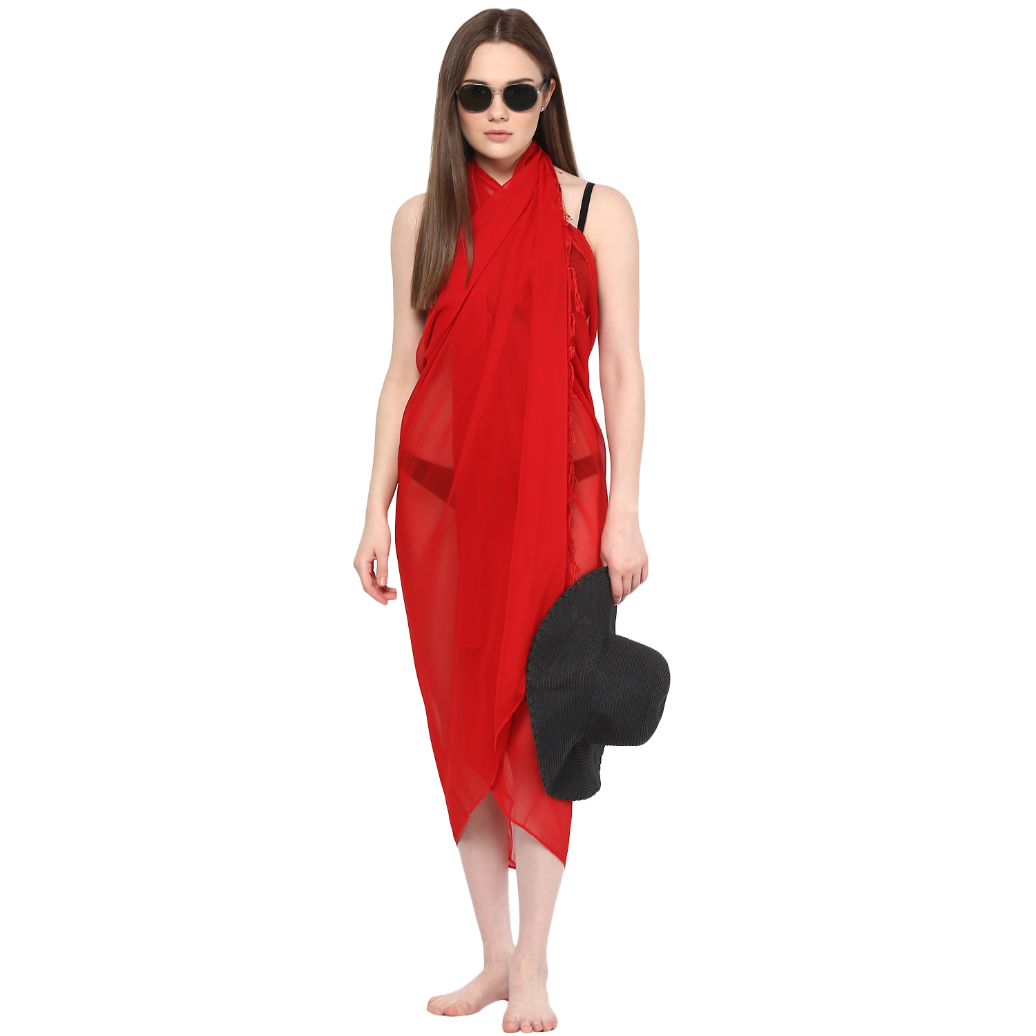 fe3850ae9c Sarong Women Solid Plain Beach Swimsuit Wrap Plus Size Sheer Cover ...
