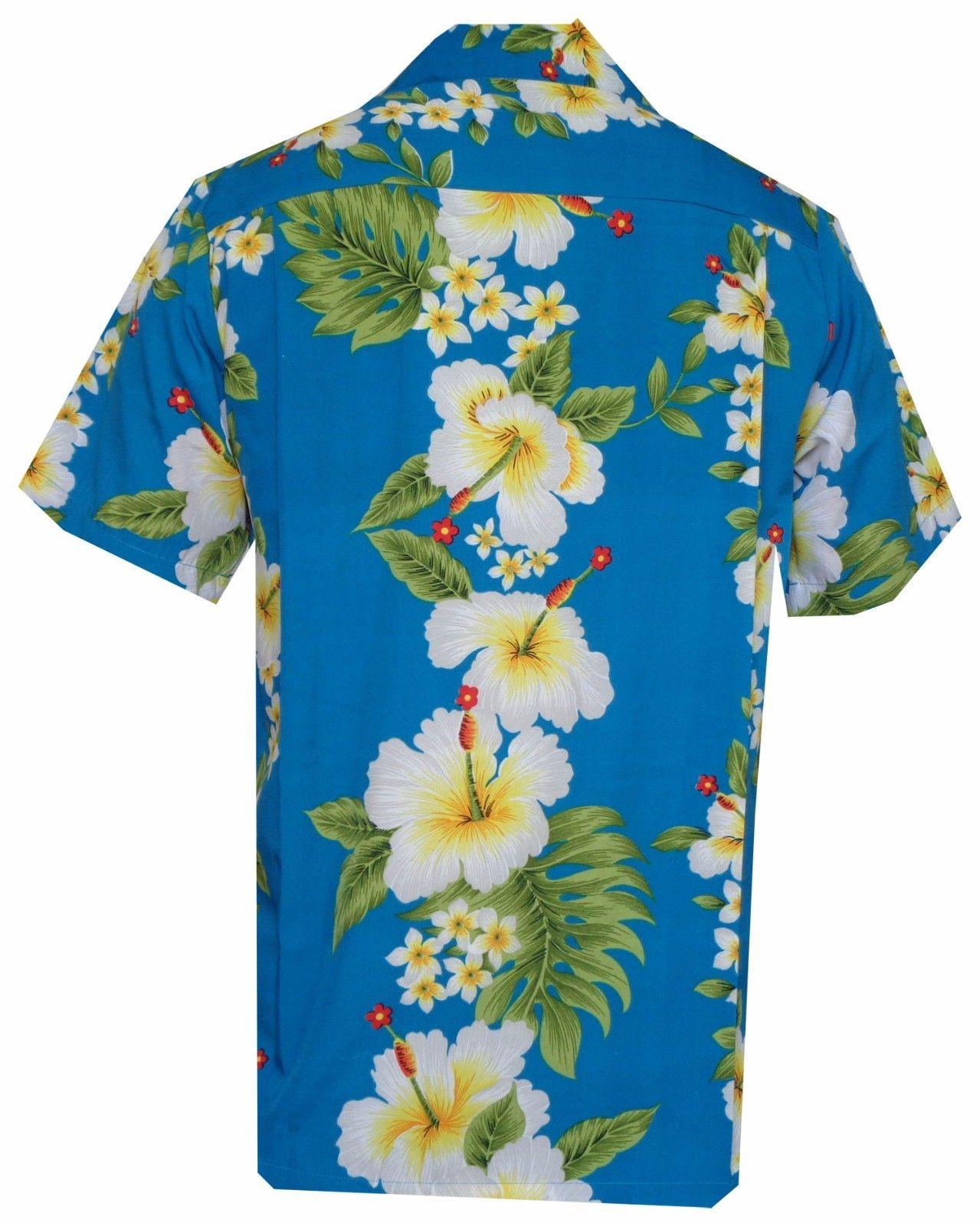 Hawaiian-Shirts-Mens-Hibiscus-Flower-Print-Beach-Party-Aloha thumbnail 4